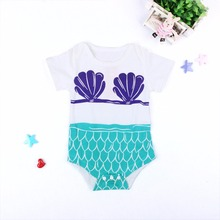 Baby Girl Rompers Toddler Girl Clothes Fish Scale Short Sleeve Kids Romper Newborn Infant Roupas De Overall Clothes Outfits(China)