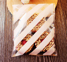 200pcs 10x16 cm Transparent stripe Design Adhesive Bag Cookies Diy Gift Bag For Christmas Wedding Party Candy Food Packaging Bag