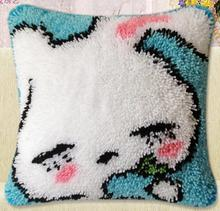 diy Hot models coarse wool carpet embroidered pillow section of cross stitch embroidery handicraft Latch Hook Little rabbit blue