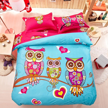 100%Cotton Cartoon Animal Owl/Deer/Leopard/Frog Pattern Duvet Cover Bed Sheet Set Children Room Reactive Dyeing Bedding Set(China)