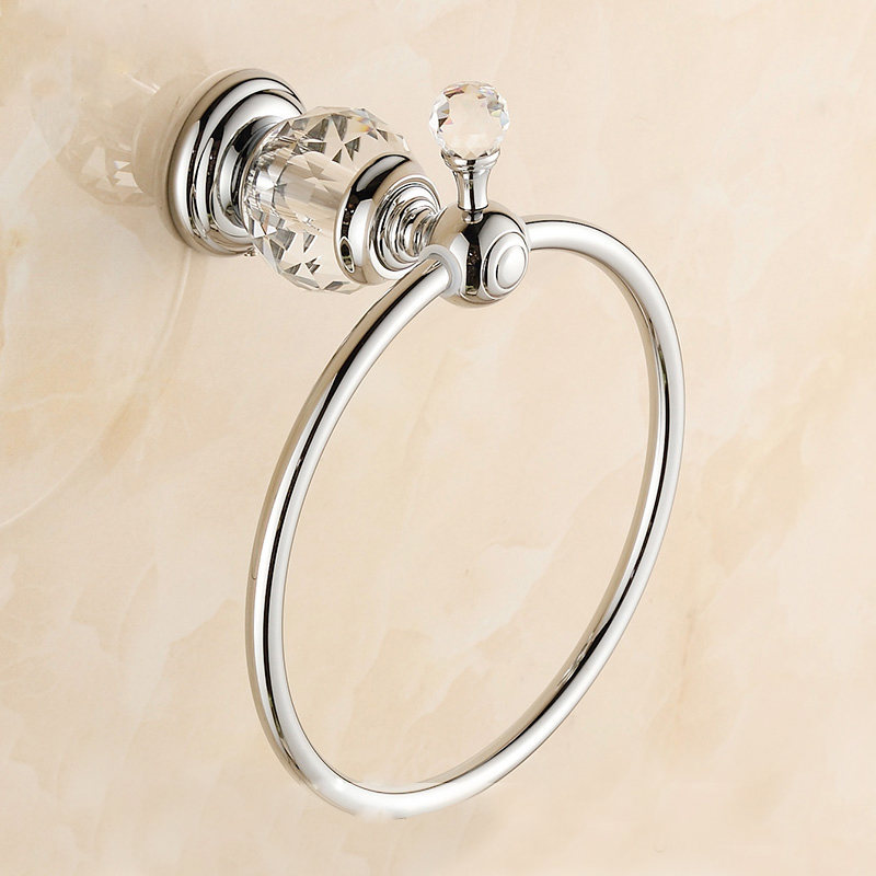 Chrome Polished Brass Towel Ring Crystal &amp; Diamond Holder Wall Mounted Bathroom Accessories Products Victor U2<br><br>Aliexpress