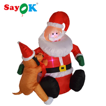 Inflatable Santa Claus with Puppy Christmas decorations for home 4 feet inflatable santa for Yard or garden decoration