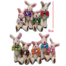 "Bulk 8cm(3.2"") Plush Joint Rabbit With Diamond and Bow Pendants Keychains For Christmas Gifts Bunny Dolls Multicolor Optional"