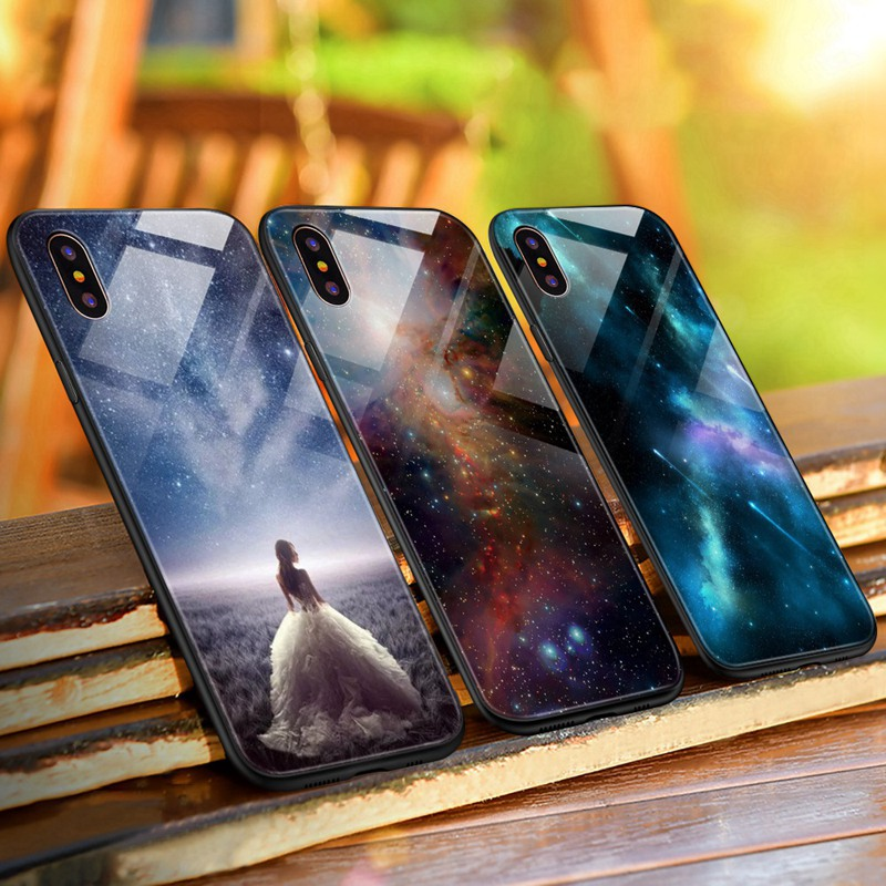 TOMKAS Luxury Space Cover Case for iPhone X Xs Max Xr Xs Glass Silicone Phone Case for iPhone 7 8 Plus Cases for iPhone 6 S 6s (28)