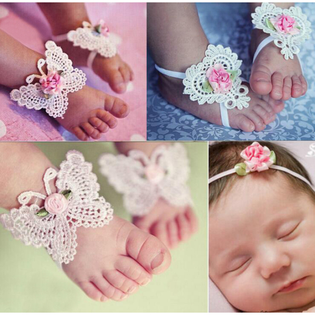 Aliexpress Com Buy Haarband Baby Girls Flower Barefoot Sandals