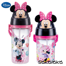 400ml 580ml Disney BPA free leakproof straw 3D Minnie cartoon kids tour drinking water bottles Mickey boy space bottle(China)