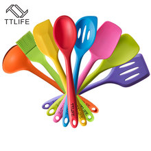 TTLIFE FDA approved 8pcs Silicone Cooking Tools Utensil Set Heat-Resistant Silicon Kitchen Cooking Set