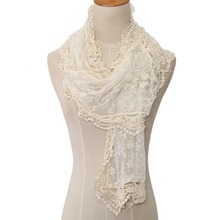 Women Lace Cape Scarf Ultra Long Milk Silk Tassel Cutout Crochet Cashers Three-dimensional Bohemia Flower White Scarves Shawls