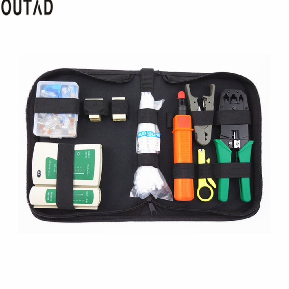 10 1 Network Tool Kit Cable Tester Crimping Cutter Tool Punch Tool Computer Network Repair Kit Repairing Tools New
