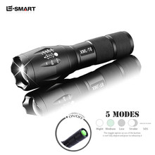 E-SMARTER Strong Lumens CREE XML T6 LED Flashlight Waterproof 5-Modes Torch Lights Focus Zoomable Lantern Promotion