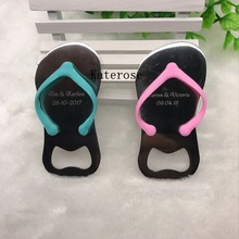 FREE SHIPPING(50pcs/Lot)+Beach Wedding Favors Customized Flip-Flop Bottle Opener Special Gift For Guest(China)