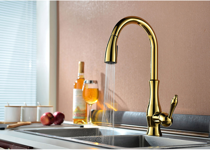 GOLD PULL OUT KITCHEN FAUCET (16)