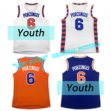 New Youth Kid Kristaps Porzingis Jersey 100% Stitched Carmelo Anthony jersey Derrick Rose jersey Embroidery Free Shipping