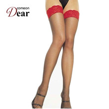 Comeondear New Fashion Recommend Red Lace Top Sexy Stockings One Size Fast Delivery B2014 Stocking for Women Sexy Knee Socks