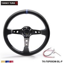Tansky - 350MM PVC Racing Aluminum Frame Light Weight 6-Hole Steering Wheel Modified Jdm Sport (Yellow Red Blue)TK-FXP05OM-P