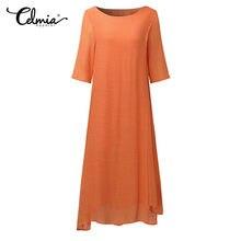 Celmia Women Maxi Dress Party Casual Half Sleeve Round Neck Long Shift Dress  Loose Retro Sexy Boho Lady Plain Shirt Dresses 5XL 9ab663941191