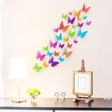 Home Decor 3D Butterfly wall Sticker Home Decoration Accessories 3d Butterfly Wall Decor Bedroom Decorations Papel(China)