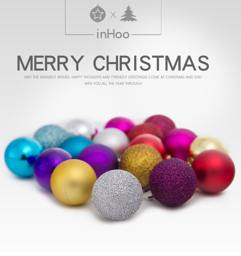 01inhoo 24PCSset Christmas ornament 468cm Christmas Tree Balls Baubles Xmas for Home Party Colorful Wedding Decoration Supplies