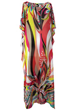 2017 New Summer Women's Sexy Artistic Colorful Floral Print Chiffon Beach Kaftan Smock Dress LGY42066