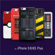 Retro Sherlock Holmes Black Door 221B Phone Cases for iphone 5 5s SE 6 6s telephone police box case pokemons balls accessories