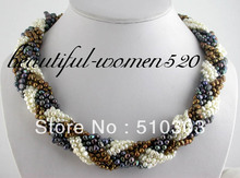 "Singularly 9 Strands 20"" 5 mm baroque black coffee white freshwater pearl necklace(China)"
