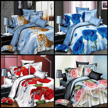 4Pcs Printed Animal Flower 3D Bedding HD Bed Polyester Bedding Family Set Household Duvet Bed Sheets Pillowcases Fashion