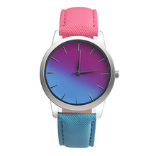 New Fashion erkek saat Quartz Watch Women Girl Retro Rainbow Design Leather Band Wrist Bracelet Watches  reloj mujer 2017