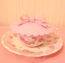 Free Shipping Sweet Pink Bow Soft Silicone Lid Anti-Dust Cup Cover Bowl Cover Retail K6498