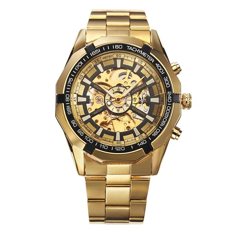 2017 Winner Luxury Sport Designer Gold Skeleton Mechanical Watch Men Alloy Male Clock Wristwatches Relogio Masculino<br><br>Aliexpress