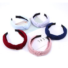 Color Fabric Girls Vintage Wide Hairbands Twisted Knotted Headbands Hair Accessories for Women Headwear(China)