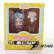 "EMS 12pcs Shipping Cute 4"" Nendoroid Lucky Star Konata Izumi Boxed 10cm PVC Action Figure Collection Model Doll Toy Gift #27"