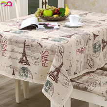 Dropship Eiffel tower Crown Retro Table Cloth Cotton Linen Fabric Grey Tableclothe Wedding Party Decoration Tables Cover(China)