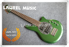 China Custom Shop Green Music Man 6 String Electric Bass Guitars With Solid Basswood Body For Sale