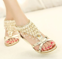 2016 summer peep-toe zipper pearl beads wedge sandals women shoes high heels high heels black gold