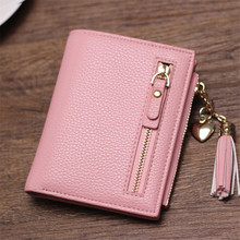 small tassel women wallet 2017 luxury brand short design leather double zipp two fold female purse with heart chain card holder