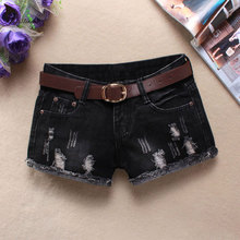 TASTIEN Wonen Holes River Denim Shorts Black Skull Pattern Jeans Low Waist Shorts Without Belt Summer Fashion Solid Women Shorts(China)
