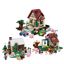 569Pcs/Lot 3 in 1 Christmas Series Four Seasons Change Cabin Christmas Special Suit Building Blocks Kit Children Gifts(China)