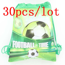 30pcs Baby Shower Soccer cartoon non-woven fabrics bags drawstring backpack kid favor football child shopping Gift bag 27cm*34cm(China)