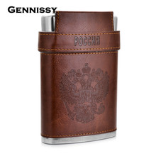 GENNISSY 10oz Stainless Steel Hip Flasks With Caps Russia's Emblem Printed Leather Covered Flagon Flask For Alcohol