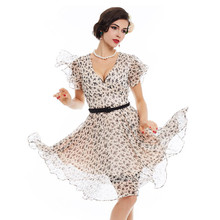 2017A Line V Neck Women Vintage Dress Summer Light Apricot Pin Up Cute Butterfly Sleeve 1950s Print Sashes Elegant Retro Dresses