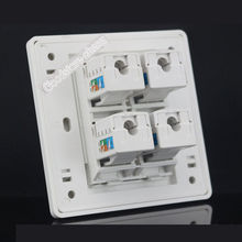 Wall Plate 4 Ports RJ45 Network Ethernet LAN CAT6 Socket Outlet Panel Faceplate Home Office Plug Wholesale Lots