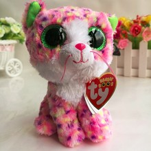 TY BEANIE BOOS 1PC 15CM Sophie pink cat BIG EYES Plush Toys Stuffed animals soft toys nano dolls home desk car decorations(China)