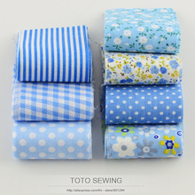 F035# 7pcs/lot 100%cotton fabric light blue sets jelly roll quilting patchwork fabric strips for DIY handmade crafts 5cm x100cm