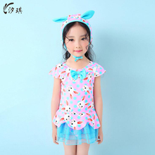 xiqi girls One-piece swimsuit dresses printed sexy one piece swim suits 2017 News to sell 2017 floral swimwear kid bathing suits(China)