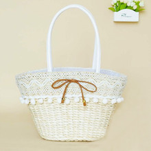 Sweet bow  beach woven straw shoulder handbag lace casual solid bolsa feminia tote hot sale women bag