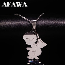 Cute Angel Stainless Steel Necklace Women Boy Kids Jewelry Silver Color Chain Stainless Steel Necklaces & Pendants Jewlery N210(China)
