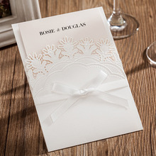10 Pieces, Red Laser Cutting Pattern Bling Crystal Wedding Invitations Cards, By Wishmade, CW6083