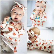 Baby girl clothes long sleeve fox printed dress+headband kids 2pcs suit newborn infant toddler baby girls clothing