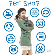 Pet Store window door sticker cat dog pet food shop welcome sticker advertising poster sale sign wall sticker store sticker(China)