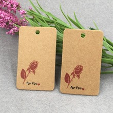 200pcs/lot kraft print paper hand made tag  for DIY Gift box tag candy cupcake handmade favors name brand tag
